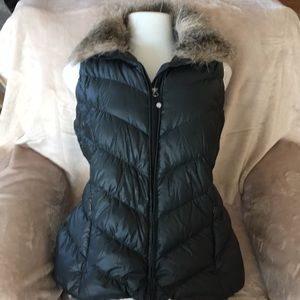 Eddie Bauer Down Vest with removable faux fur.